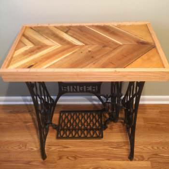 Reclaimed Pallet Epoxy Tabletop with Cast Iron Singer Base