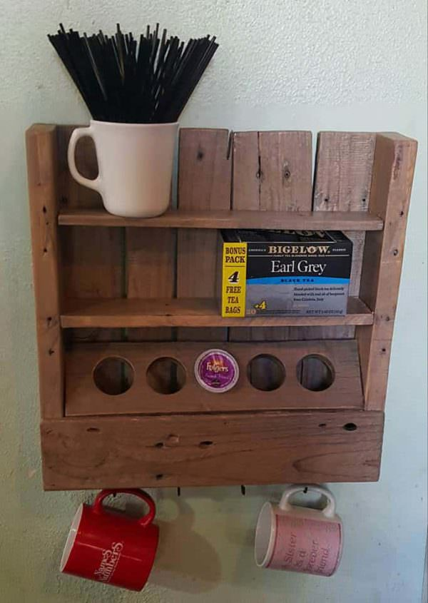Rustic Coffee or Tea Shelf Made from Only One Recycled Pallet Pallet Shelves & Pallet Coat Hangers