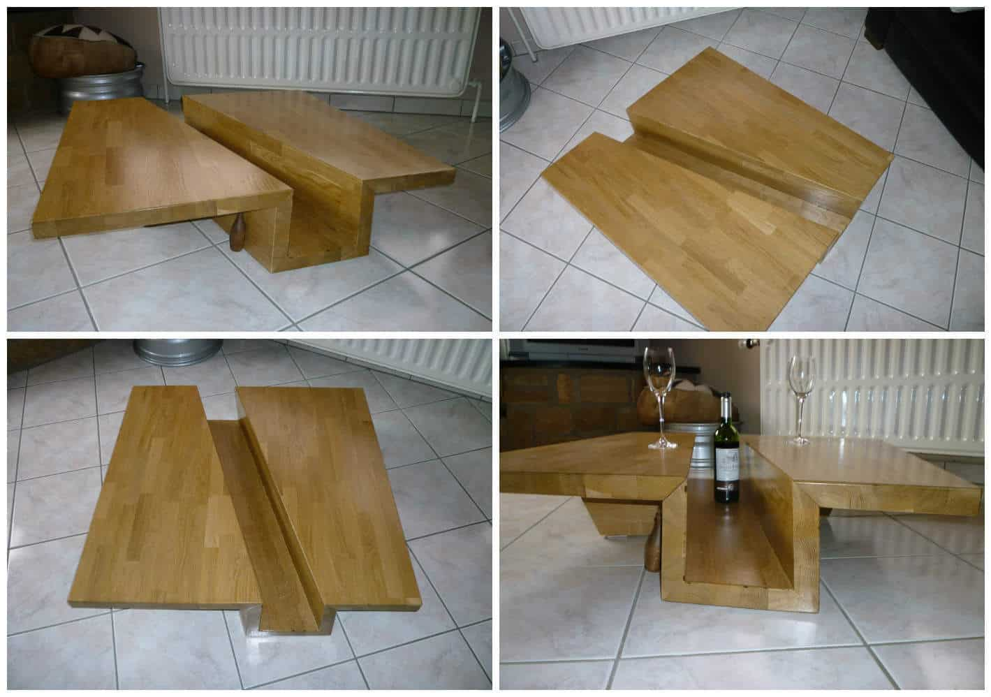 Table basse ch ne massif lamell coll solid glulam oak for Table basse chene metal