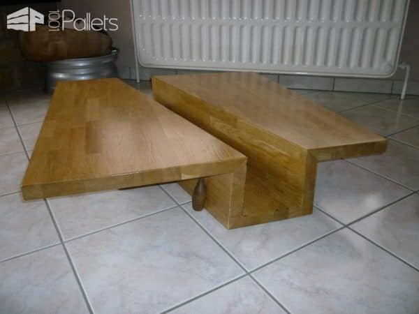 Table Basse Chêne Massif Lamellé-collé / Solid Glulam Oak Coffee Table Pallet Coffee Tables