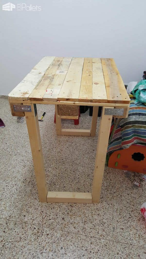 Workbench From Repurposed Euro Pallets Pallet Desks & Pallet Tables