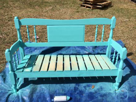 Garden Bench from a Recycled Headboard & Pallets