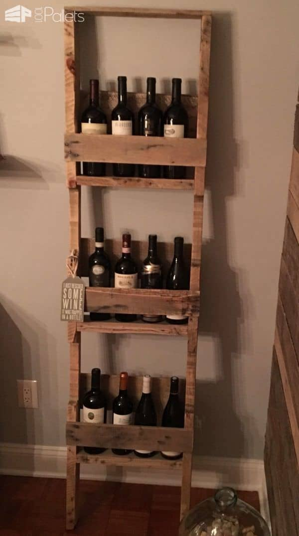 Ladder Style 12 Bottles Wine Rack Pallet Shelves & Pallet Coat Hangers