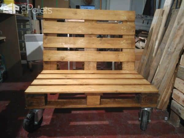 Pallet Bench on Wheels Pallet Benches, Pallet Chairs & Stools
