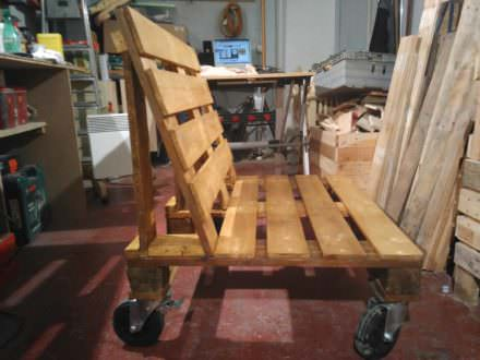 Pallet Bench on Wheels