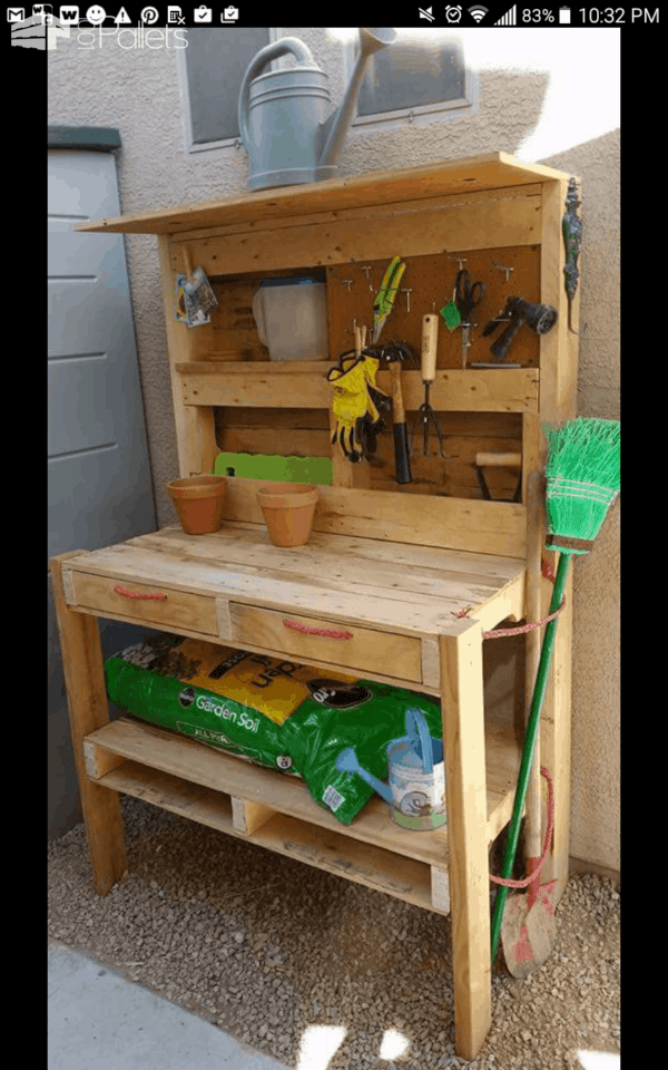 Pallet garden potting bench o 1001 pallets for Garden potting bench ideas