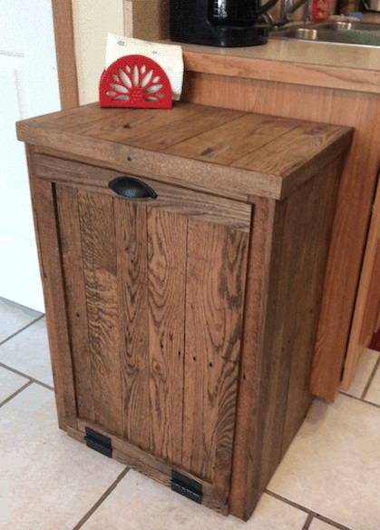 Superbe 1001pallets.com Pallet Oak Trash Cabinet