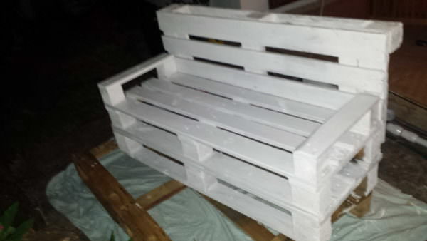 Pallet White Bench Lounges & Garden SetsPallet Sofas & Couches