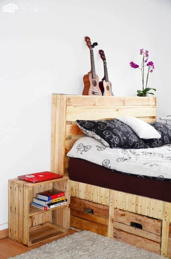 Pallet wood king size bed with drawers storage 1001 for Pallet bed frame instructions