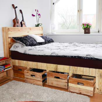 Pallet Wood King Size Bed with Drawers & Storage