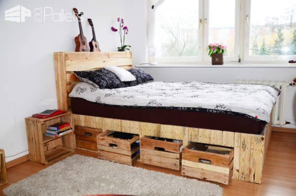 Pallet wood king size bed with drawers storage 1001 for Pallet king bed frame