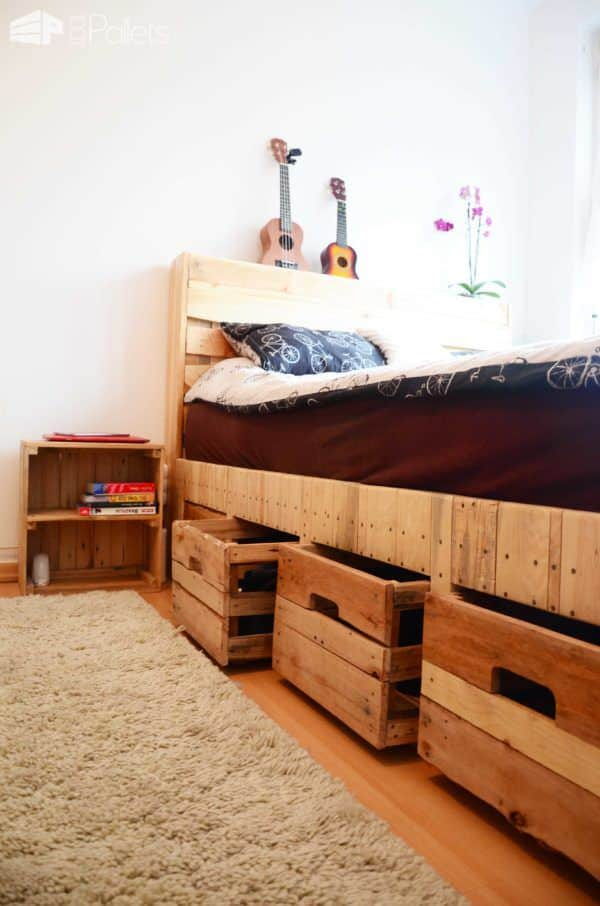 pallet wood king size bed with drawers u0026 storage diy pallet bed headboard u0026 frame