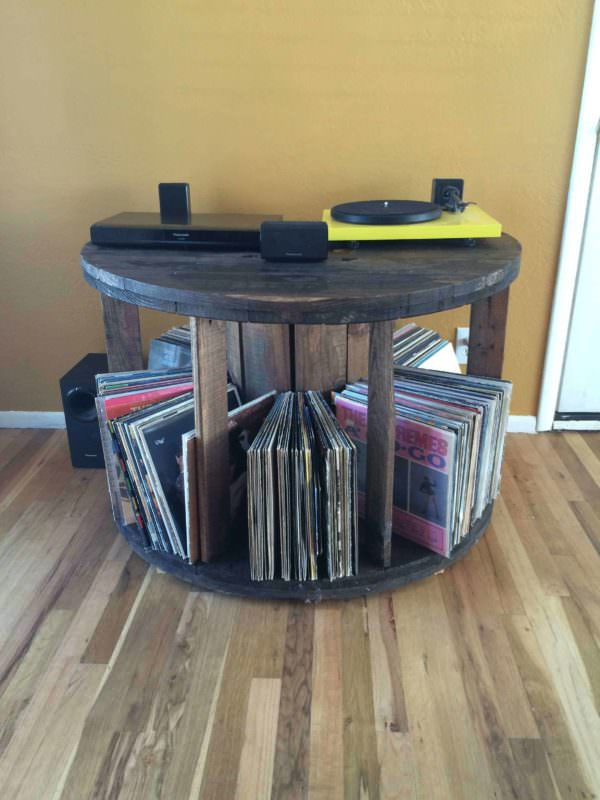 Record Holder Made From Spool Pallet Home Accessories