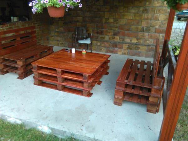 Rustic Pallet Patio Set Lounges & Garden Sets