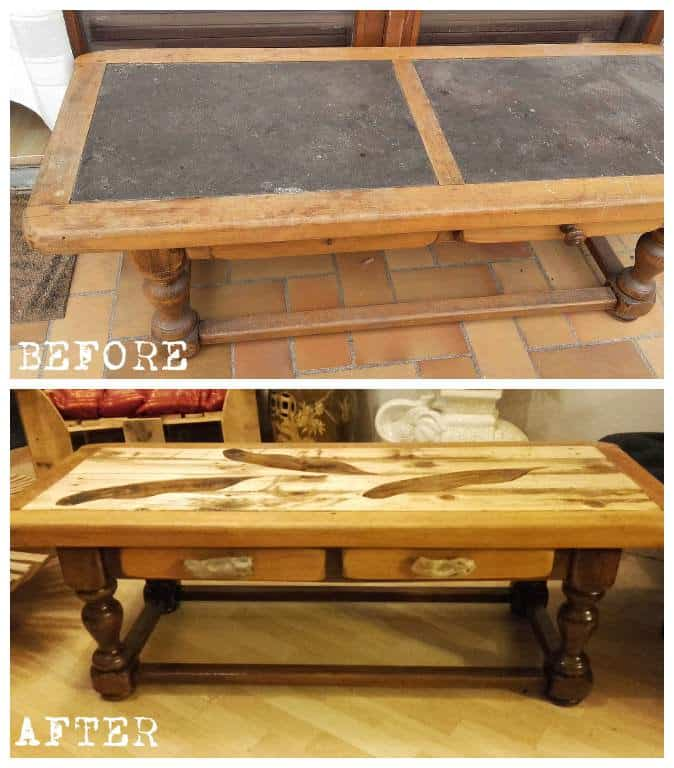 Table basse revisit e en palette pallet coffee table for Table basse palette