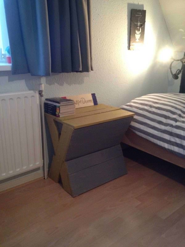 X-shape Bedside Table from Some Pallet Parts Pallet Desks & Pallet Tables