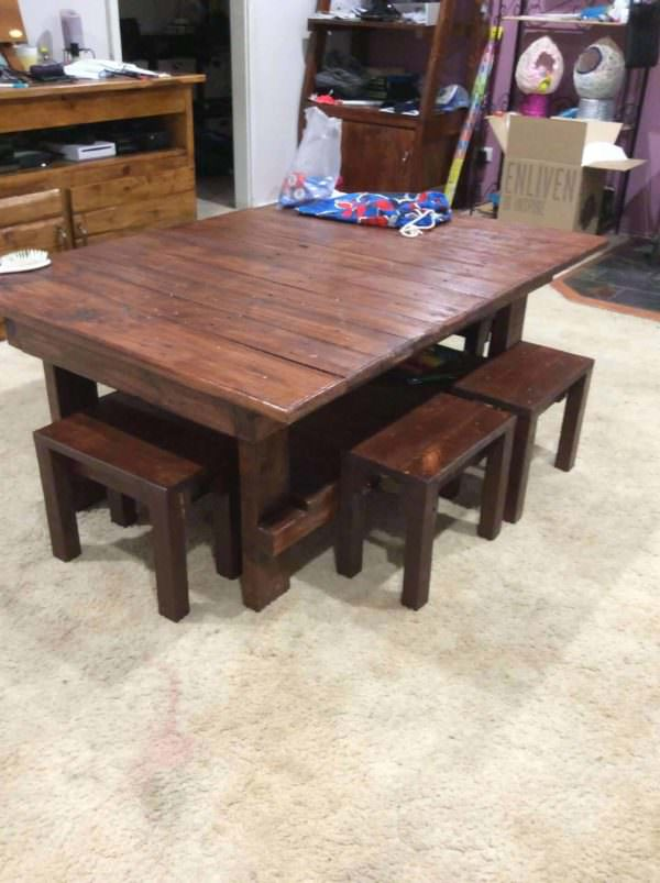 Coffee Table & Chairs for the Kids Pallet Desks & Pallet Tables