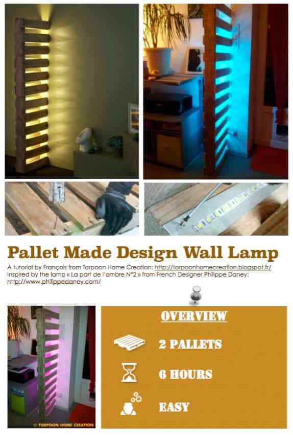 Diy Tutorial: Pallet-made Design Wall Lamp Step-By-Step Printable Pallet PDF Tutorials