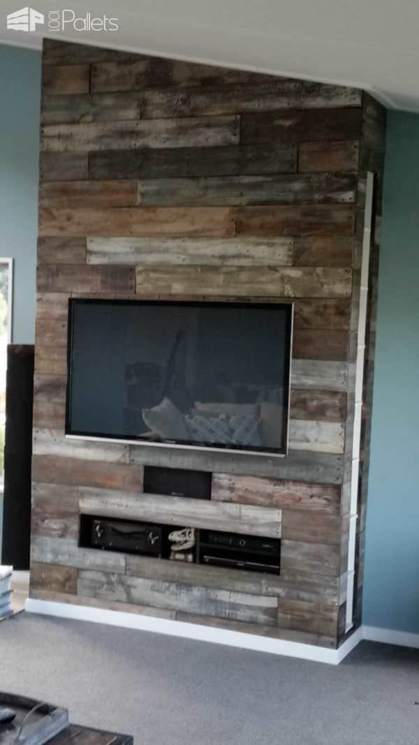 False Chimney Media Centre Pallet TV Stand & Rack Pallet Walls & Pallet Doors