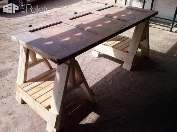 Office Desk From an Old Door & Pallets Pallet Desks & Pallet Tables