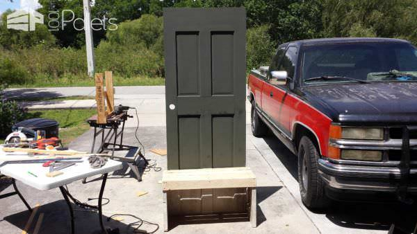 Old Repurposed Door with Pallet Wood Into Entrance Seat DIY Pallet Furniture