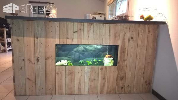 Pallet Bar with Integrated Aquarium & Wax Concrete Counter Pallet Bars