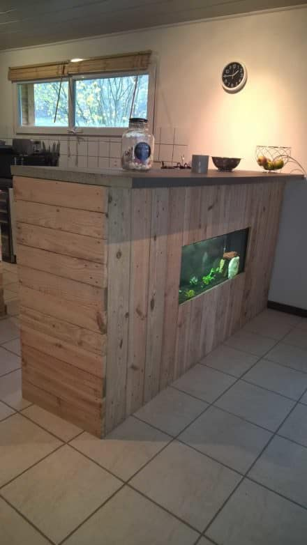 Pallet Bar with Integrated Aquarium & Wax Concrete Counter