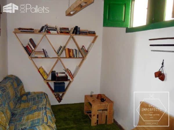 Pallet Bookcase / Estantería Pallet Bookcases & Pallet Bookshelves Pallet Home Decor