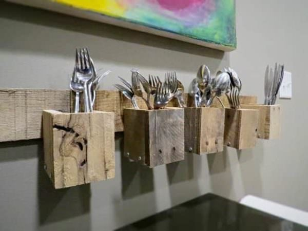 Pallet Wood Wall Mount Silverware Holder Pallet Home Decor