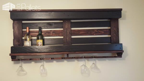 Wine Rack with One Pallet & Repurposed Wood Pallet Shelves & Pallet Coat Hangers