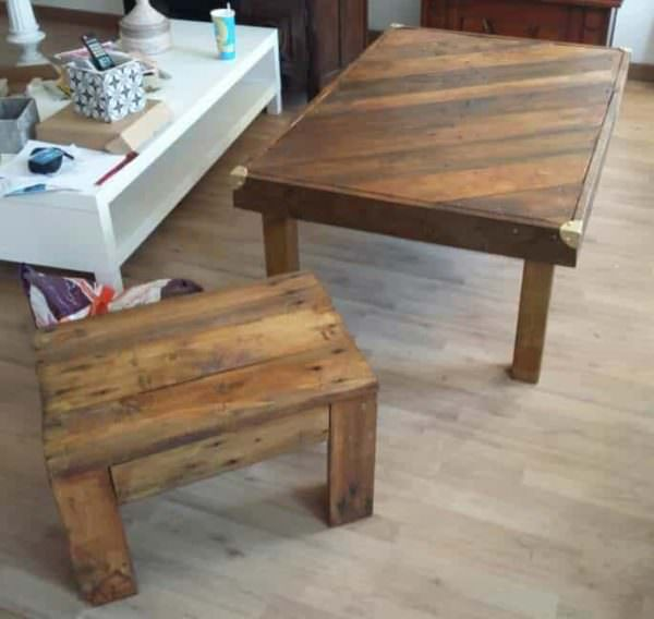 Xxl Stool & Its Coffee Table Pallet Benches, Pallet Chairs & StoolsPallet Coffee Tables