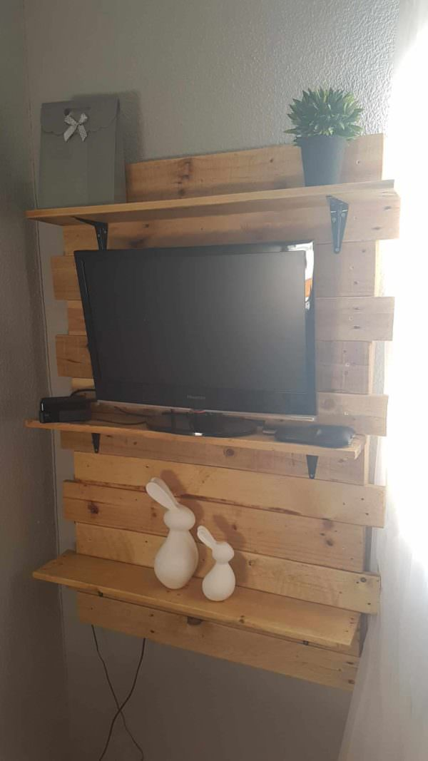 Bedroom Shelf from Two Pallets Pallet TV Stand & Rack