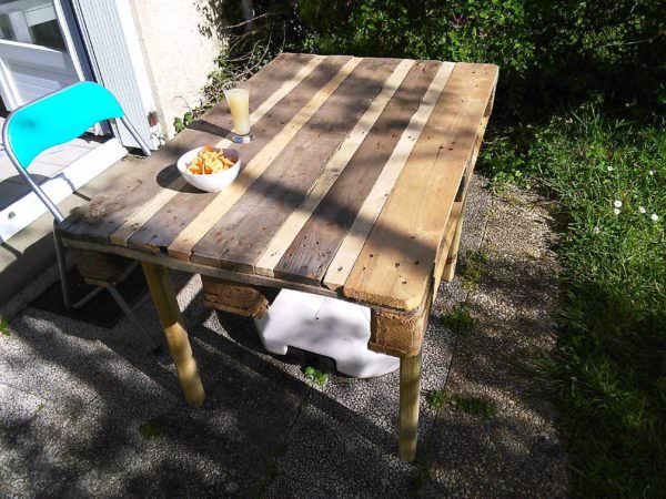 Garden Table from 1 Single Pallet Pallet Desks & Pallet Tables