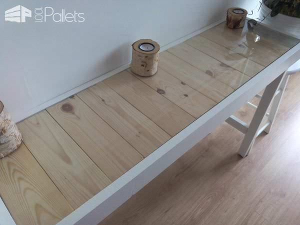 Hallway Pallet Table with Hidden Drawer Pallet Desks & Pallet Tables