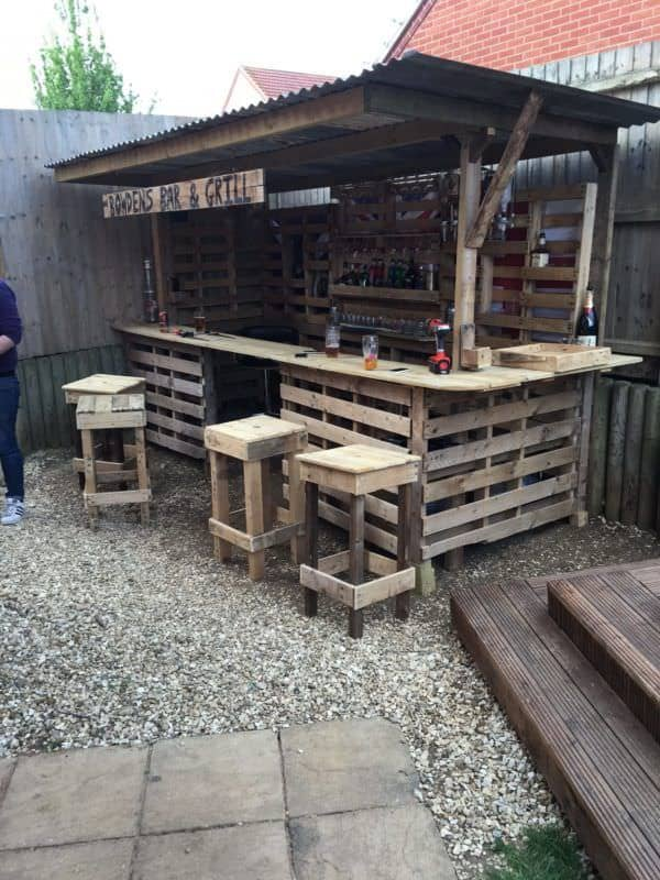 making the ultimate garden bar using pallets 1001 pallets. Black Bedroom Furniture Sets. Home Design Ideas