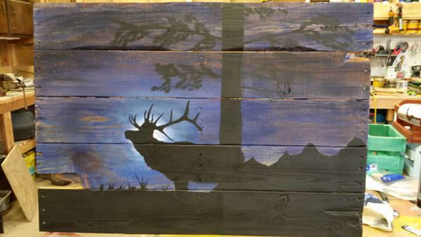 Midnight Elk on Pallet Pallet Wall Decor & Pallet Painting