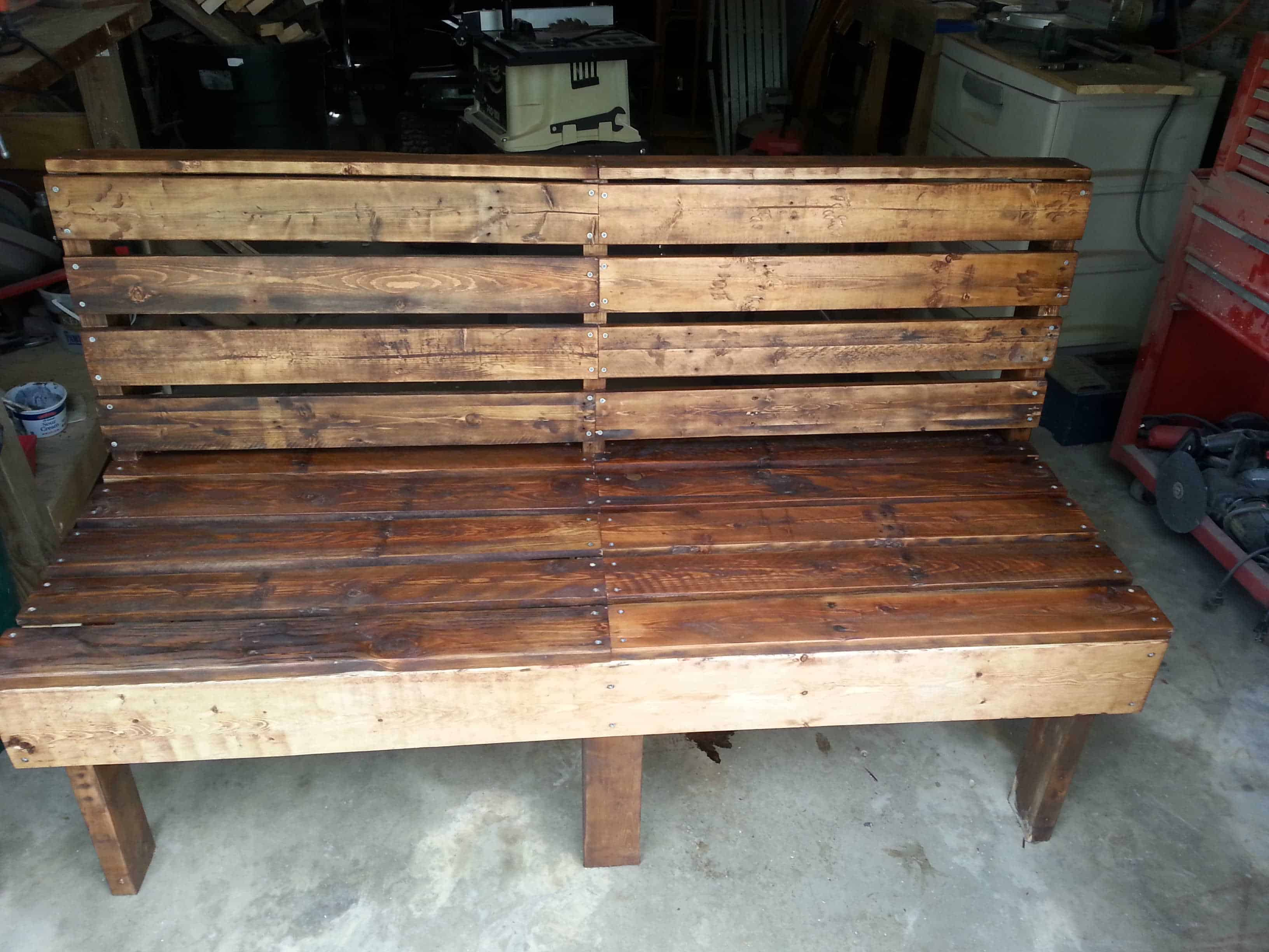 Pallet bench 1001 pallets for Diy pallet bench instructions