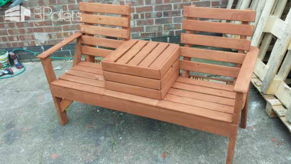 Pallet Love Seat Lounges & Garden Sets Pallet Benches, Pallet Chairs & Stools