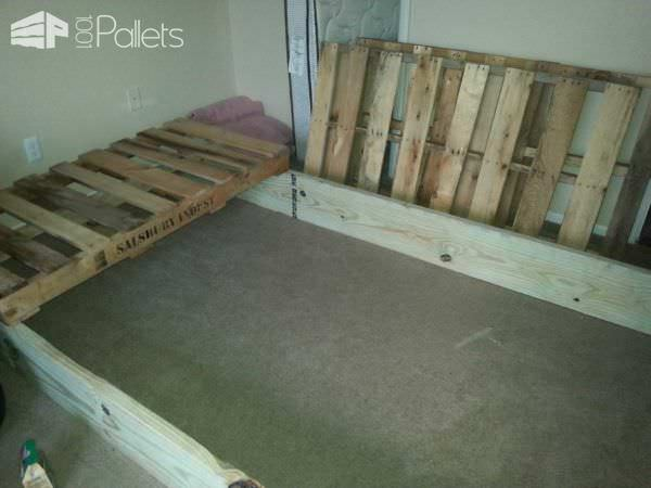 Queen Bed from 3 Pallets DIY Pallet Bed Headboard & Frame