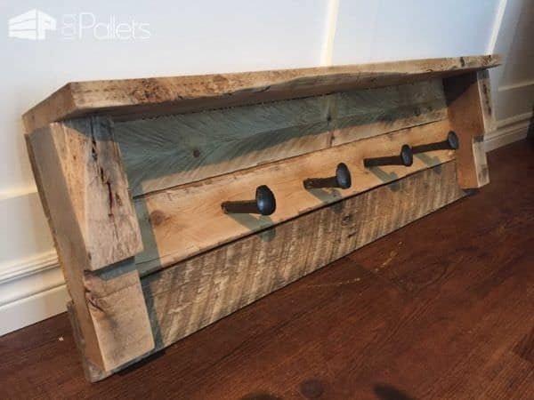 Rustic Coat Racks From One Pallet Pallet Shelves & Pallet Coat Hangers
