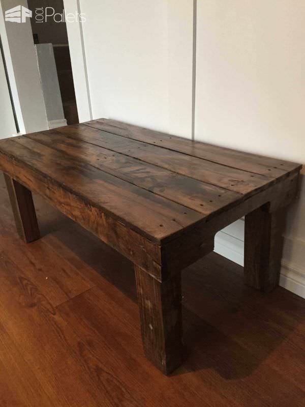 Another view of the pallet coffee table to show the rustic milling marks, nail holes, and imperfections that make pallet wood unique.