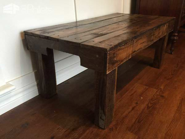 Side view of the coffee table highlighting the arched section of the pallet stringers.