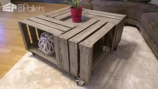 tables en caisses pommes apple crates into coffee table 1001 pallets. Black Bedroom Furniture Sets. Home Design Ideas