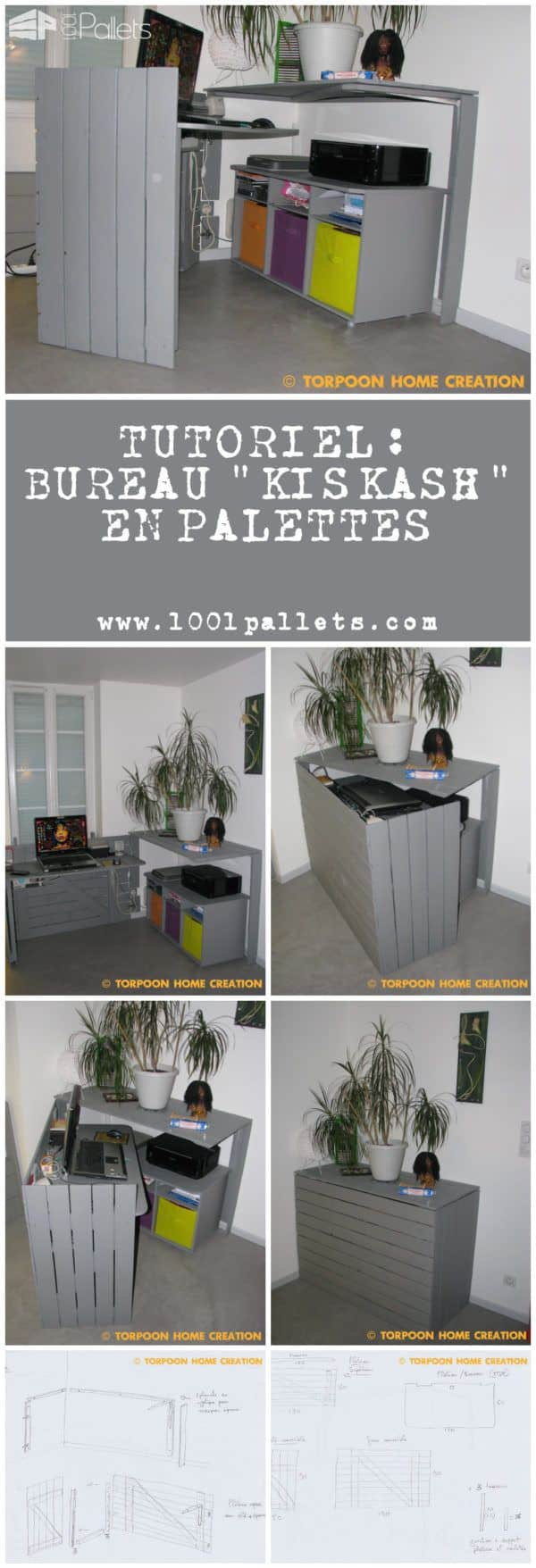 Tutoriel: Bureau Kiskash En Palettes (Pdf) Pallet Desks & Pallet Tables Step-By-Step Printable Pallet PDF Tutorials