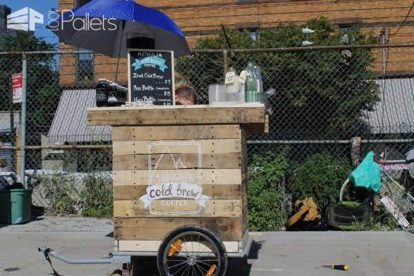 Diy Coffee Cart Made from Reclaimed Pallets in My Tiny N.y.c Appartment DIY Pallet Bars Pallet Store, Bar & Restaurant Decorations Pallet Tutorials