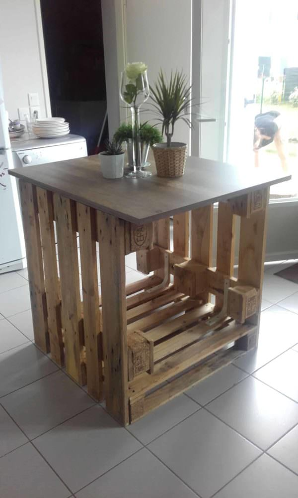 Lot central cuisine pallet kitchen island pallet for Cuisine ilot central