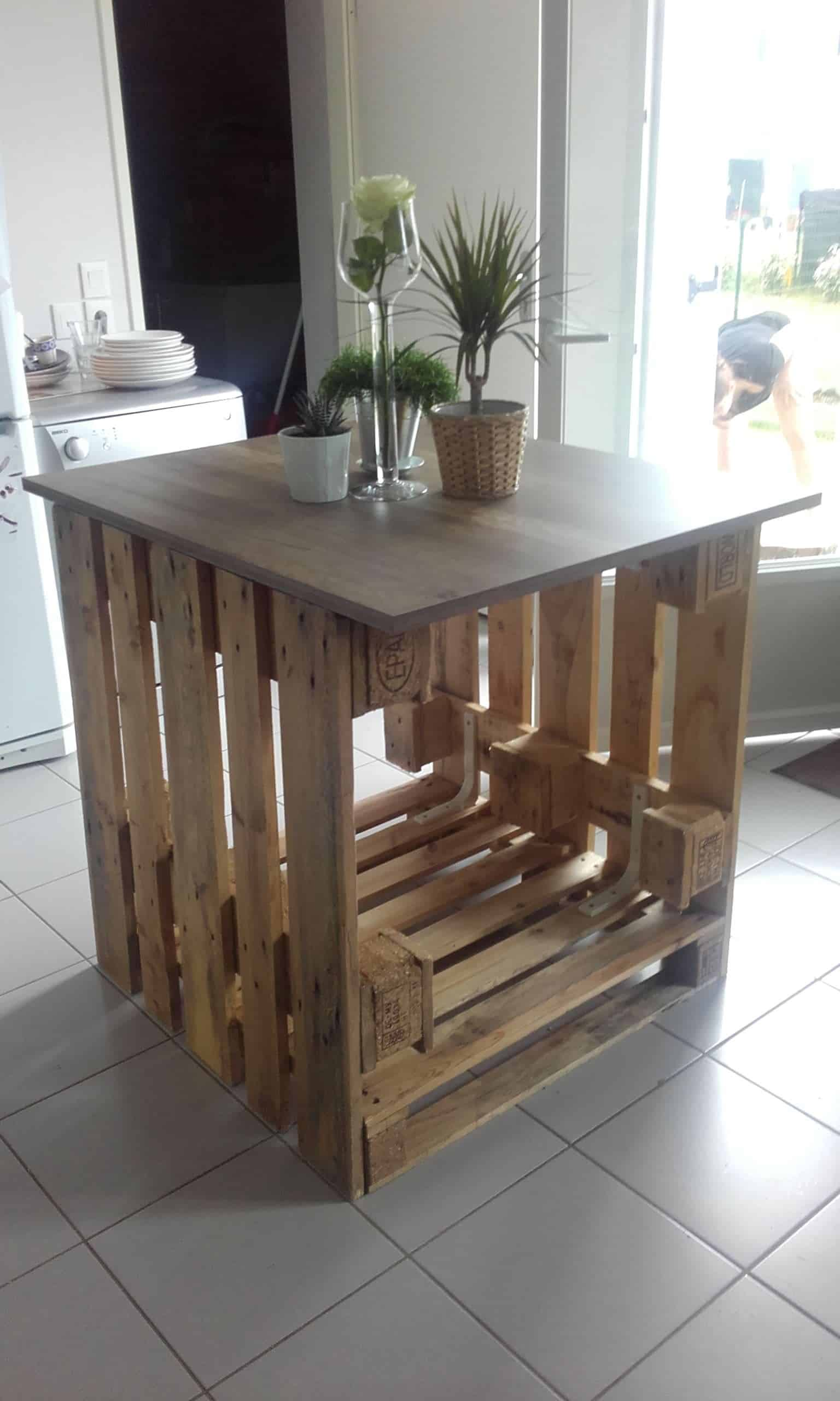 îlot Central Cuisine Pallet Kitchen Island 1001 Pallets