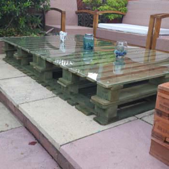 Lucite-topped Pallet Table