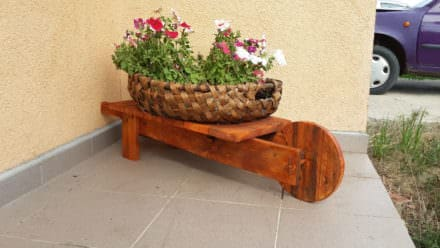 Mini Pallet Wheelbarrow Plant Stand