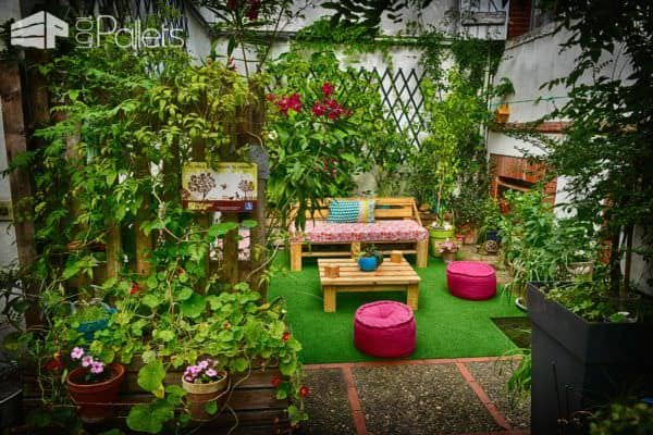 mobilier de jardin pallet garden furniture 1001 pallets. Black Bedroom Furniture Sets. Home Design Ideas